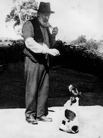 Dan Kelly and his dog at Toombul, ca. 1930s